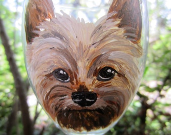 Hand Painted Yorkshire Terrier Yorkie Wine Glass