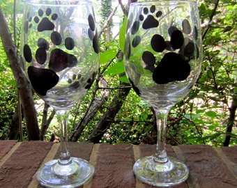 Hand Painted Pet Paw Print Wine Glass Set of 2
