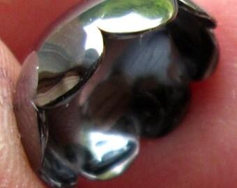 12 Vintage Metal Scolloped  Bead Caps