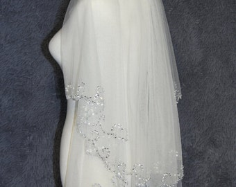 2T white ivory hand-sequined wedding bridal veil flounced beautiful bride accessories wedding supplies