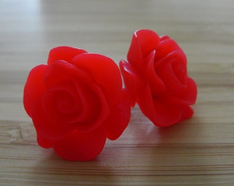 Large Red Flower Earrings