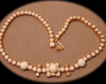 Milk Glass and Rhinestone Necklace 1950s