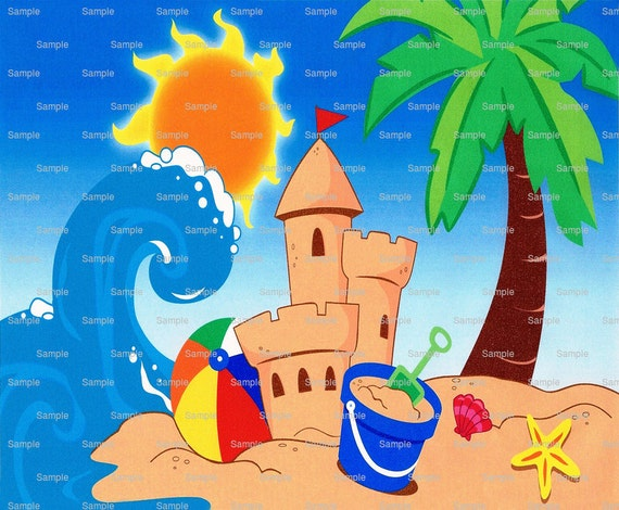 Summer Beach Sandcastle Birthday - Edible Cake and Cupcake Topper For Birthday's and Parties! - D2039