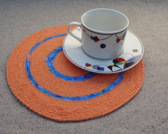 10'' Round Orange and Blue Fabric Coiled Mat