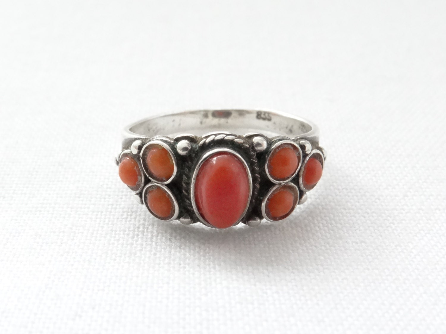 antique coral ring small size ring by