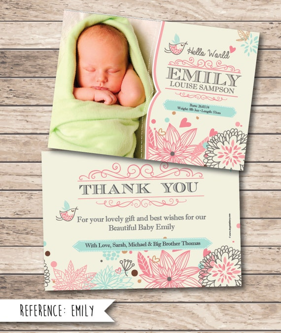 Items similar to Birth Announcement Baby Thank You Card – Birth Announcements and Thank You Cards