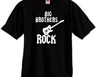 Big Brothers Rock cool guitar boys kids youth toddler shirt short sleeve color and size choice new gift