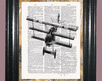 Vintage Tri-Plane Art - Vintage Dictionary Book Page Art Upcycled Book Page Art Mixed Media Art Vintage Plane Print