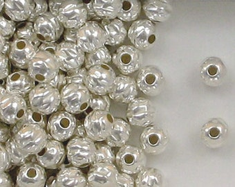 Sterling Silver 6mm Hammered Round Accent Beads, Choice Lot Size