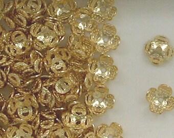14k Gold Filled 7mm Flower Bead Caps, 187