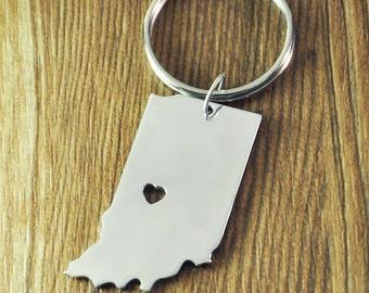 personalized I heart Indiana Keychain - Indiana Map Keychain - State Key ring - Map Keychain - Custom State Key rings