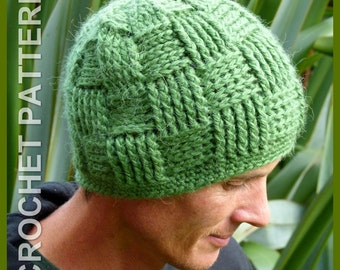 Crochet Hat Pattern ~ Instant Download ~ Basket Weave Beanie NB to Adult Sizes