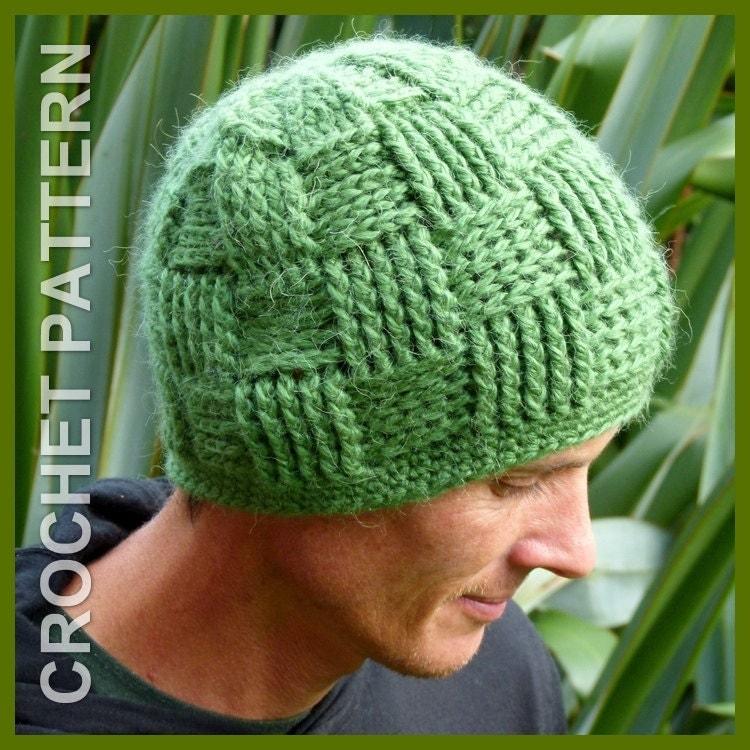 How To Knit A Basket Weave Beanie : Crochet hat pattern instant download basket weave beanie