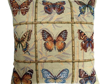 Butterflies Tapestry Cushion Cover. Tapestry Pillow Cover.