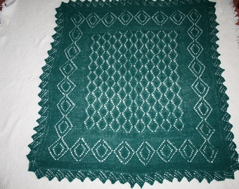 Hand knitted Baby Blanket / Shawl in pure Shetland Wool
