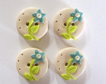 Spring flower Buttons ~ Set of 4