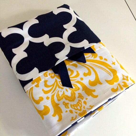 Items similar to bedding reversible duvet navy blue fynn - Navy blue and yellow bedding ...