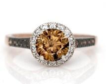 1 Carat Chocolate Brown Diamond Floating Halo Rose Gold, White & Chocolate Brown Diamond Accent Stones Engagement Ring, Anniversary Ring