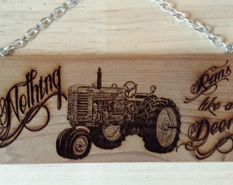Laser Engraved Cedar Sign - John Deere
