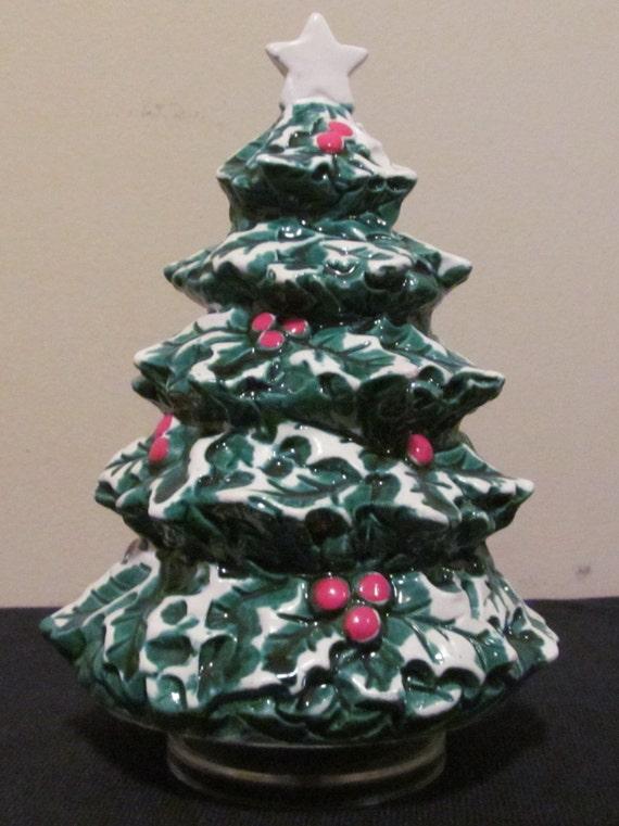 Vtg Ceramic Tabletop Christmas Tree Musical Rotating Berman