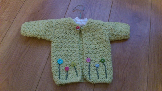 Crochet baby girls cardigan. 100% organic fair trade cotton. Ready to ship.