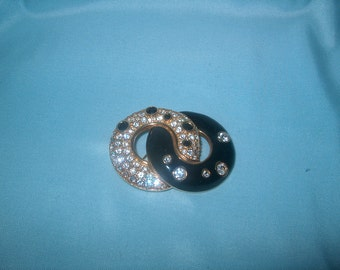 Swarovski  Swan Signed Crystal Brooch Pin, Double Circles, Vintage Costume Jewelry, WAS 60.00 - 20% = 48.00