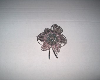 Vintage Costume Jewelry Brooch Pin, Silvertone Metal  & Silvertone Pearls, WAS 25.00 - 50% = 12.50