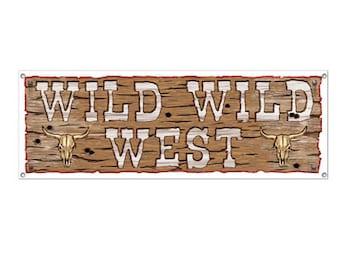 WILD WILD WEST  Banner Western cowboy party supplies decorations birthday party supplies