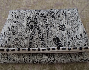 Retro Brocade Ivory Black Metallic Beaded Fold Over Clutch