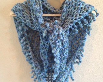 Soft and silky shawl with spiral fringe in blues and green