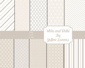 INSTANT DOWNLOAD-  Digital scrapbook paper (Khaki and white) pattern papers scrapbooking background