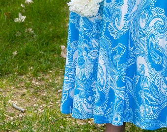 Blue and White Floral Women's Maxi Skirt