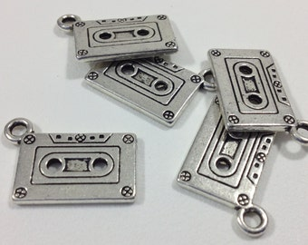 5 Antique Silver Tone Cassette Tape Charms 27x12mm