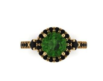 Emerald Engagement Ring Black Diamond Wedding Gemstone Ring 14K Yellow Gold Engagement Ring with 6.5mm Round Green Emerald Center - V1023M