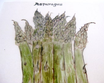Asparagus Hand Painted Ceramic Tile