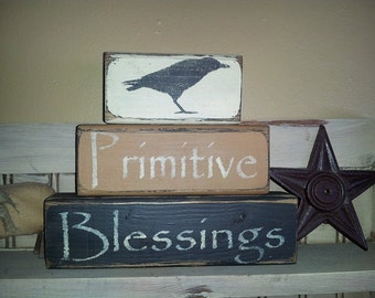 Primitive Blessings Crow Blocks Sign