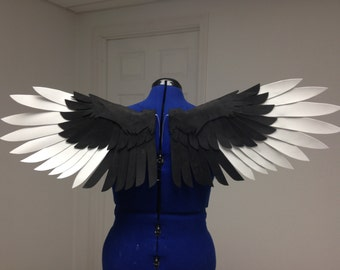 Realistic Black and White Bird Cosplay Wings