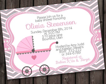 Baby Shower Invitation, Girl Baby Shower, carriage with FREE customized wording