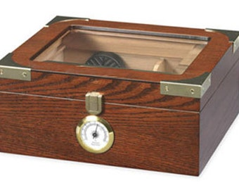 Personalized Humidor, The Elegant 25-50 Cigar Glass Top, Groomsman Gift