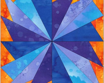 Cool Fan Paper Piece Foundation Quilting Block Pattern