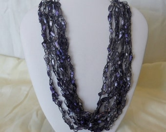 Crocheted Ladder Ribbon Yarn Necklaces 7 Strand Different Colors