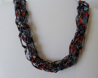 Hand Knitted Ribbon Ladder Yarn Necklace Blue and Red Item #163
