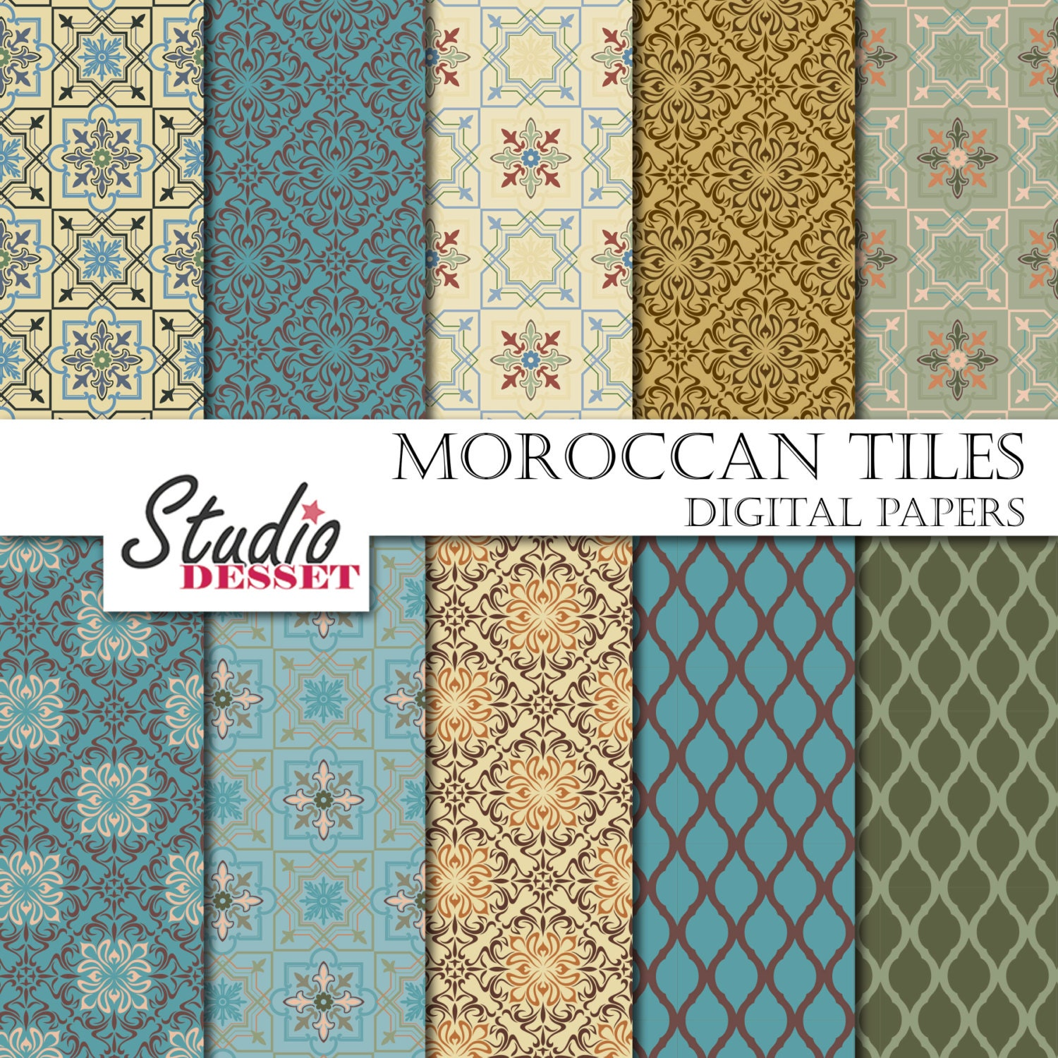 morocco tiles papers bohemian digital paper in blue and. Black Bedroom Furniture Sets. Home Design Ideas