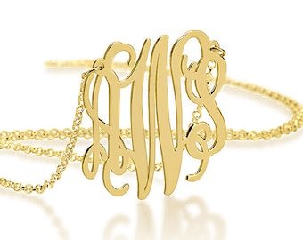 Gold Personalized Monogram Necklace 1.5 Inch - 18K Gold Plated
