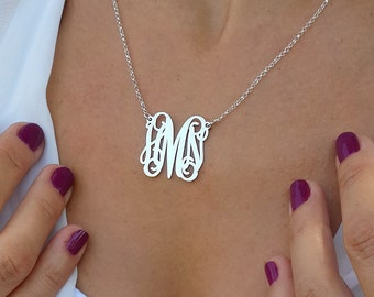 Monogram Necklace 3 Initials 1 Inch - Sterling Silver - Monogrammed Gifts