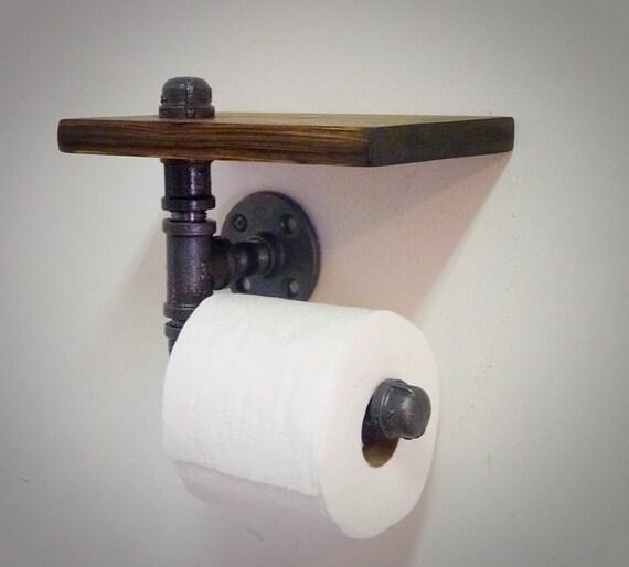 industrie rohr toilettenpapierhalter mit ablage. Black Bedroom Furniture Sets. Home Design Ideas