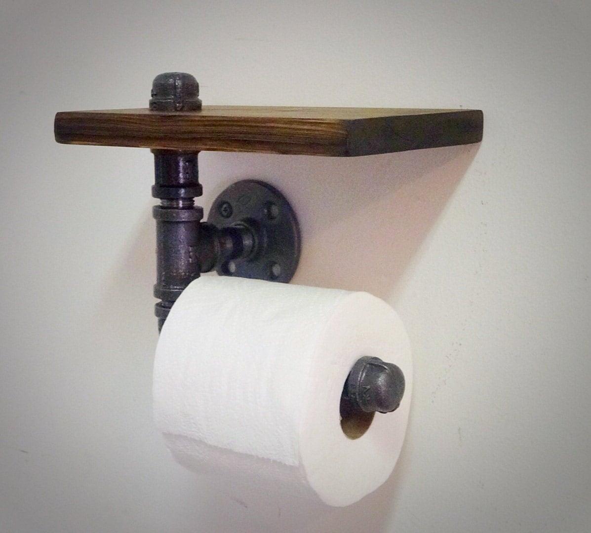 industrial pipe toilet paper holder with shelf. Black Bedroom Furniture Sets. Home Design Ideas