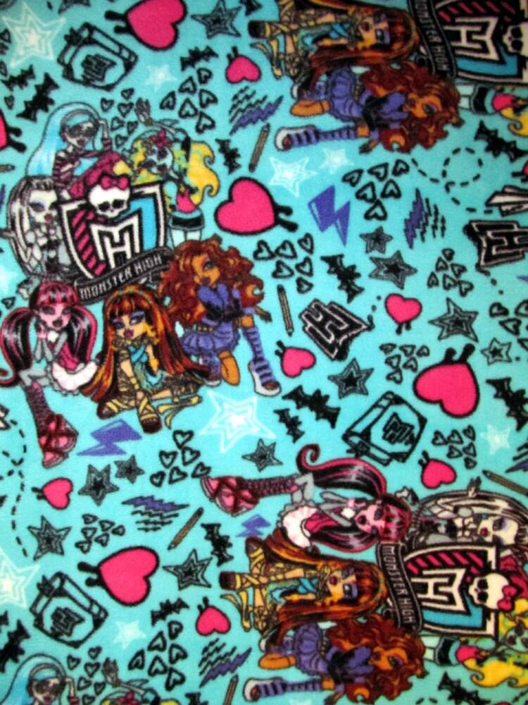Monster high fleece fabric rare vhtf bty for Monster high material fabric
