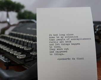 Leonardo da Vinci Accomplishment Quote Typed on Typewriter - 4x6 White Cardstock