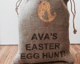 Easter Egg Hunt Burlap Bag / Easter Basket with CHICK,   Personalized jute bag